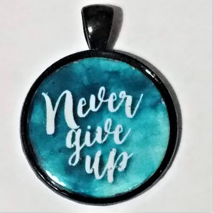 Never Give Up Quote Black Pendant with Cord Necklace