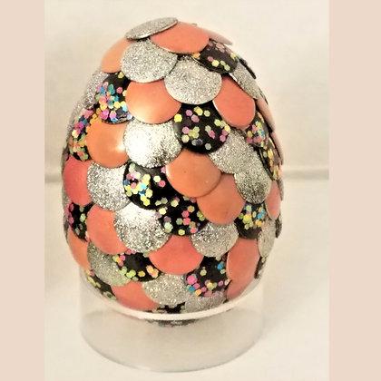 Peach Silver Glitter 2 inch Dragon Egg