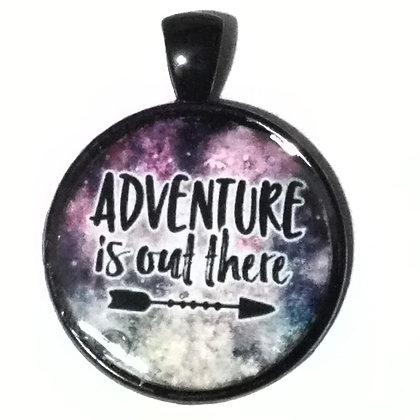 Adventure Quote Black Pendant with Cord Necklace