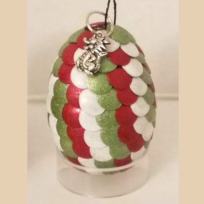 White Green Red Multicolored 2 inch Dragon Egg with Charm
