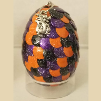 Orange Purple Black Multicolored 2 inch Dragon Egg with Charm