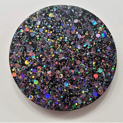 Small Sparkling Glitter Holographic Gunmetal Resin Coaster