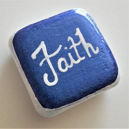 Handpainted Blue Santorini Faith Cube Stone