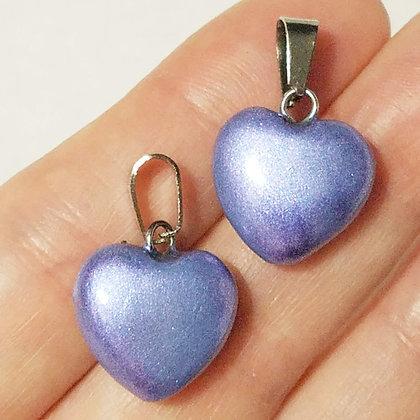 Set of 2 Pastel Purple Heart Pendants (no necklace included)