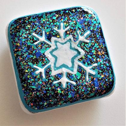 Handpainted Santorini Snowflake Teal Blue Glitter Stone
