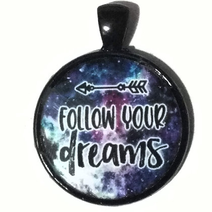 Follow Your Dreams Quote Black Pendant with Cord Necklace