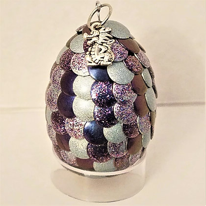 Silver Purple Glitter 2 inch Dragon Egg with Charm