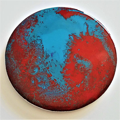 Handpainted Pour Painting Blue Red Resin Coaster