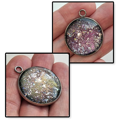 Green Purple Colorshift Round Necklace Pendant with Chain