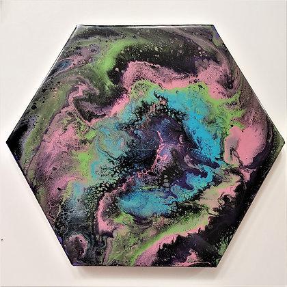 """Misty"" Hexagon Pour Painting"
