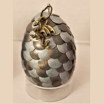 Gray Silver Colorshift 2 inch Dragon Egg with Charm