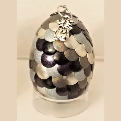 Silver Black 2 inch Dragon Egg with Charm