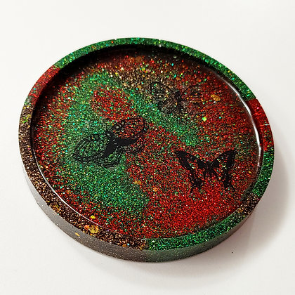 Sparkling Glitter Red Green Butterfly Decal Resin Coaster