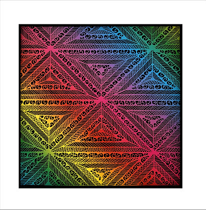 """Geometric Splash"" Rainbow Scratch Art"