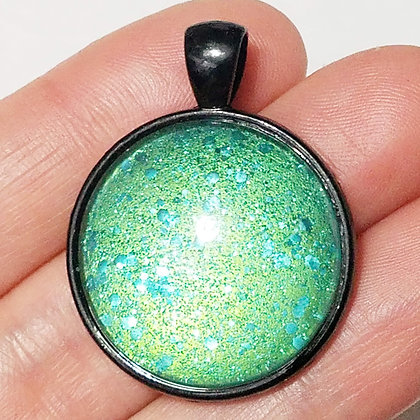 Green Sparkling Glitter Black Pendant with Cord Necklace