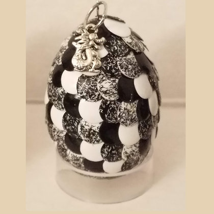 White Black Glitter 2 inch Dragon Egg with Charm