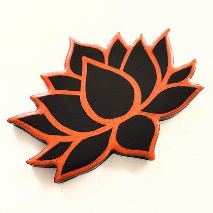 Red Orange Black Resin Lotus Coaster