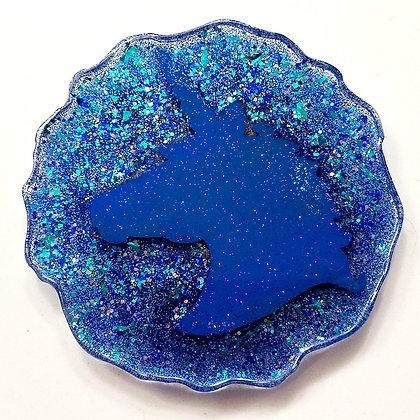 Blue Sparkling Glitter Glitter Resin Unicorn Geode Coaster