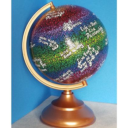 Handpainted Inspirational Quote Globe