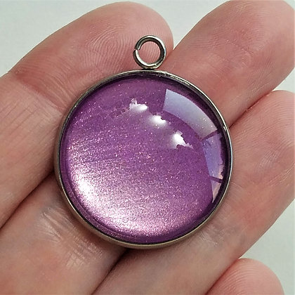 Purple Round Necklace Pendant with Chain