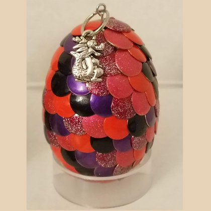 Orange Purple 2 inch Dragon Egg with Charm