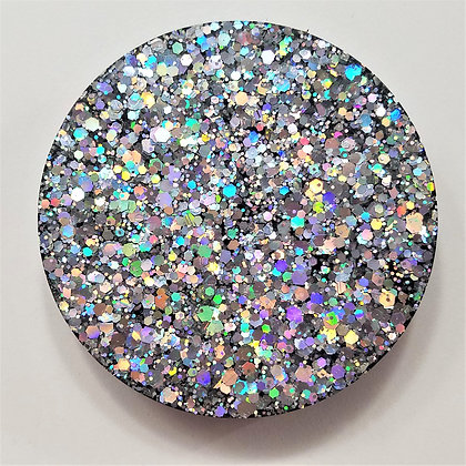 Set of 3, Small Sparkling Glitter Glitter Holographic Silver Resin Coaster