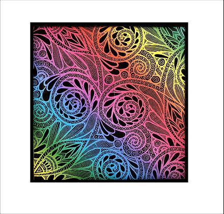 """Vibrant Whimsy"" Rainbow Scratch Art"