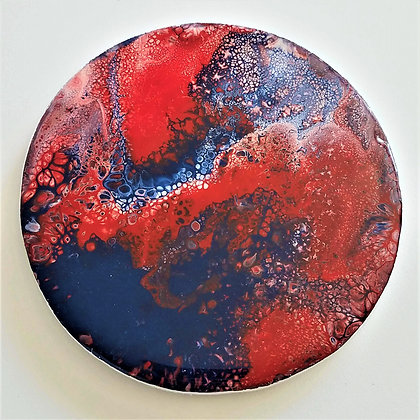 Handpainted Pour Painting Red Blue Resin Coaster