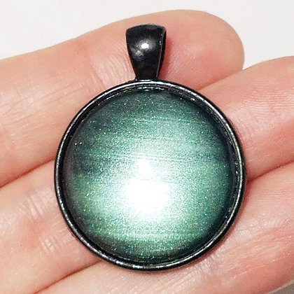 Pale Green Black Pendant with Cord Necklace