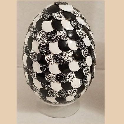 Black White Glitter 2.75 inch Dragon Egg