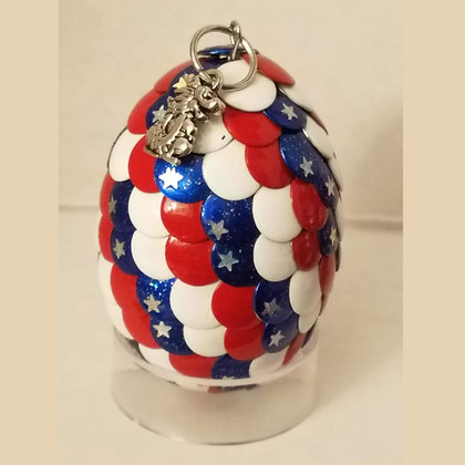 Red White Blue Multicolored Star Glitter 2 inch Dragon Egg with Charm