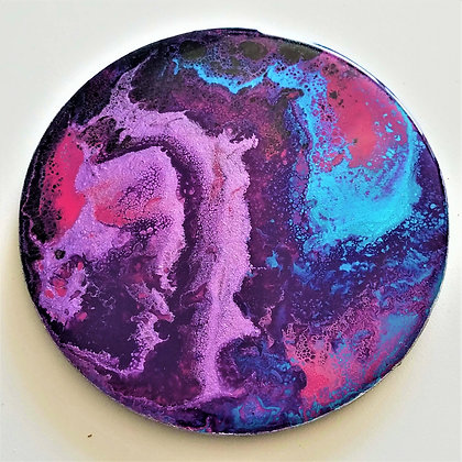 Handpainted Pour Painting Pink Purple Pink Resin Coaster