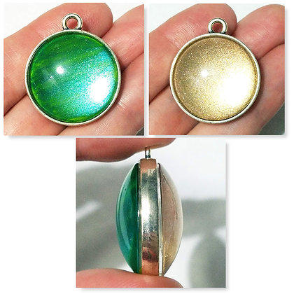 Green Yellow 2-Sided Necklace Pendant with Chain