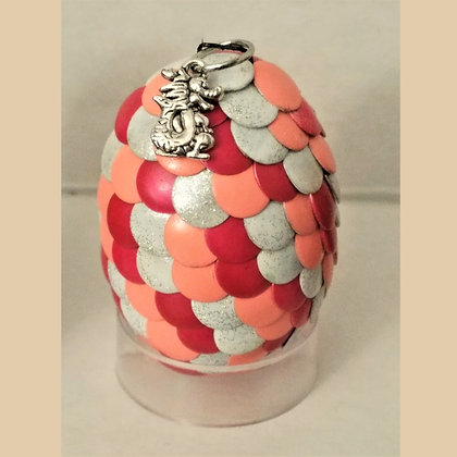 Red Peach Orange White Multicolored 2 inch Dragon Egg with Charm