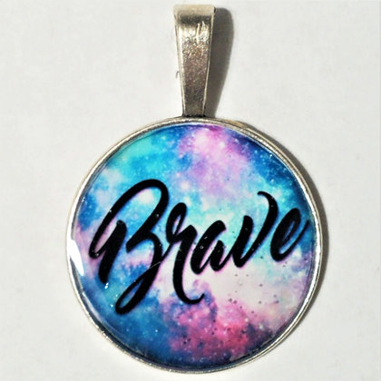 Brave Quote Necklace Pendant with Chain