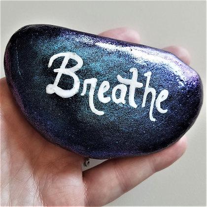 Handpainted Purple Blue Colorshift Breathe Quote Northeast  Stone