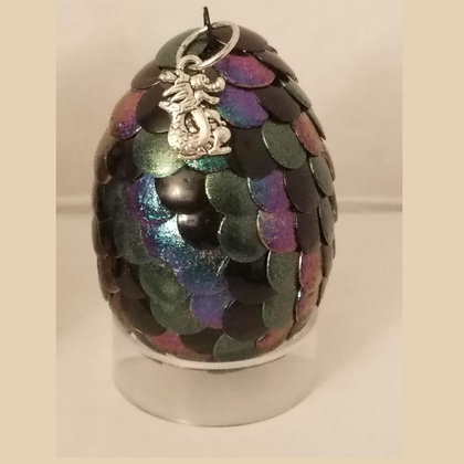 Multicolored Green Purple Colorshift 2 inch Dragon Egg with Charm
