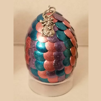 Pink Purple Blue Multicolored 2 inch Dragon Egg with Charm