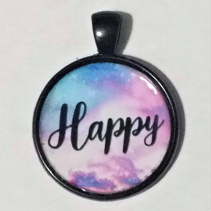 Happy Quote Black Pendant with Cord Necklace