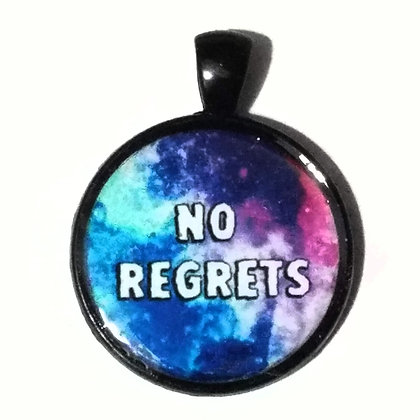 No Regrets Quote Black Pendant with Cord Necklace