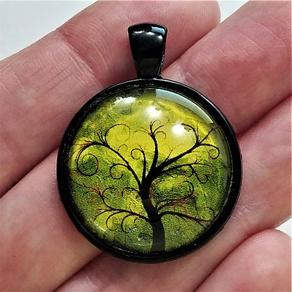 Tree Scenery Black Pendant with Cord Necklace