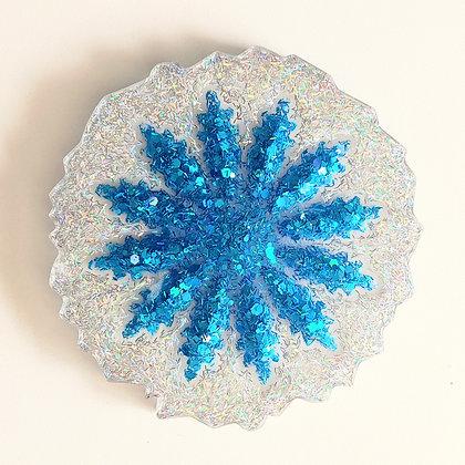 Blue Sparkling Snowflake White Resin Coaster