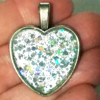 White Glitter Heart Shaped Necklace Pendant with Chain