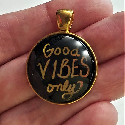 Gold Toned Good Vibes Only Quote Pendant with Black Cord Necklace