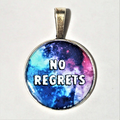 No Regrets Quote Necklace Pendant with Chain