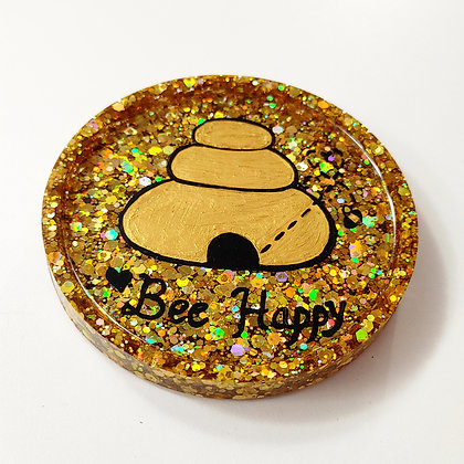 Gold Sparkling Glitter Painted Bee Hive Resin Coaster