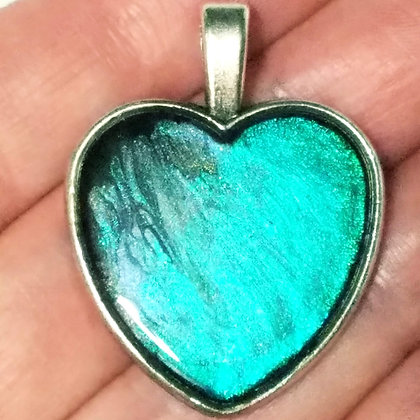 Teal Blue Shimmering Heart Shaped Necklace Pendant with Chain