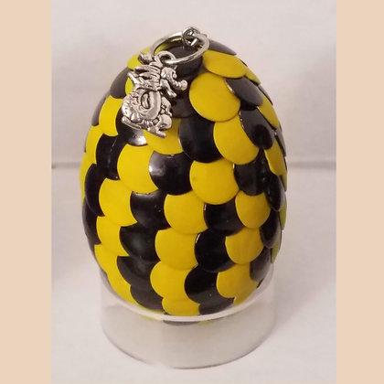 Yellow Black 2 inch Dragon Egg with Charm
