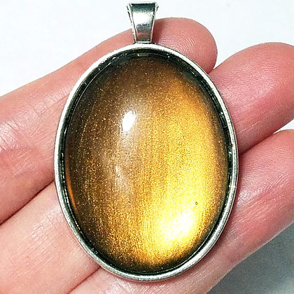 Large Oval Shimmering Yellow Colorshift Necklace Pendant with Chain