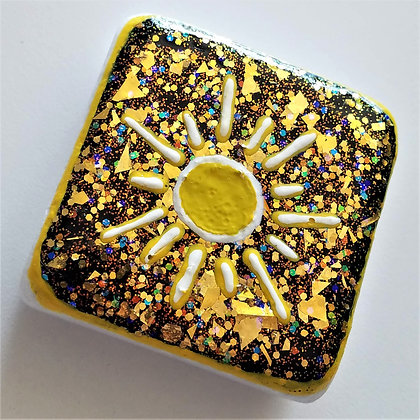 Handpainted Santorini Sun Yellow Gold Glitter Stone
